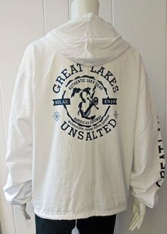 "Great Lakes Unsalted Hoodie |A customer favorite!  The perfect hoodie for the Michigan Great Lakes lover.  Front Zip with pockets.  Drawstring waist.  Small logo on front left chest and large logo on back.  ""Great Lakes"" on sleeves.  100% Cotton.  Available in White.  Generous fit.  Sizes S-XL. 