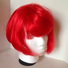 Smiffy's Neon Red Fever Wig Short with Fringe on Professional Wig Cap Cosplay #Halloween #Wig #Cosplay