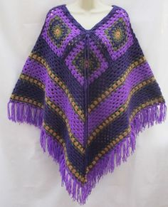 Vintage Retro Hand Crafted Purple Mix Crochet Poncho Cape Hippy NEW 70s Festival