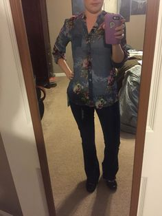 4th Stitch Fix box. Kut from the Kloth Sinclaire button front blouse. September 2015. I was iffy when I first saw this as floral isn't really me but it looks pretty cute on. Very sheer so an tank/cami is a must. Material is kinda scratchy so I am on the fence on keeping. https://www.stitchfix.com/referral/5306545