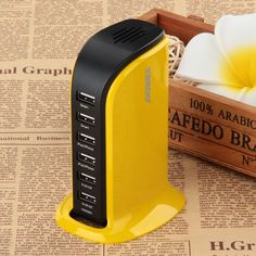 Kinkoo 406-Port Family-Sized Desktop USB Charger for iPhone, iPad Air 2 Samsung Galaxy Nexus HTC Nokia and More (Yellow)