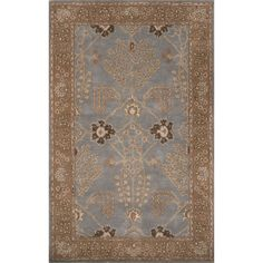 Hand-Tufted Arts And Craft Pattern Blue\Brown (8x10) Area Rug | Overstock.com Shopping - The Best Deals on 7x9 - 10x14 Rugs