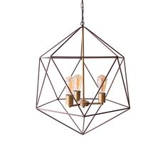 Polyhedron Modern Cage Geometric Chandelier Ceiling Light Mid