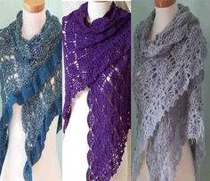 Crochet pattern 3  in  1 lace shawl  PDF by BernioliesDesigns,