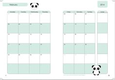 2014 Calender A5 by RchmalsyDesigns on Etsy, $2.00  #planner #planners #printableplannerpages #plannerprints #2014planner #panda #pandas #kawaiiplanner #kawaii #monthly #monthlycalender #plannerpages #plannerrefill #filofax #filofaxlovers #planning #monthlyplanning