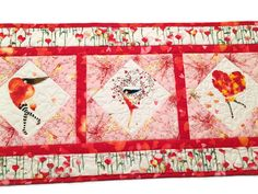 Valentines Day Table Runner Quilt, Pink and White Cherie Quilted Table Runner, Valentine Quilt, Quiltsy Handmade by QuiltSewPieceful on Etsy