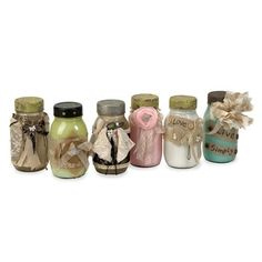 IMAX Masons Vintage Jars - Set of 6 - 72011-6. IMAX Masons Vintage Jars - Set of 6 - 72011-6 Adding a vintage touch to any room, this set of six revamped jars have painted interiors and are wrapped in lace, tulle, ribbon, burlap and embellished with a mix of Shabby .. . See More Vintage items at http://www.ourgreatshop.com/Vintage-items-C732.aspx