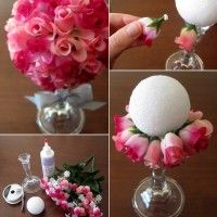 Image Source: stayathomeartist To make this beautiful flower ball bouquet you will require a styrofoam ball, a candle stick, a bunch of silk flowers, glue