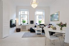 Scandinavian Living Room Design Ideas With White Scheme And Luxury Pendant Lamp Listed In Contemporary Scandinavian Apartment Interior Design Ideas Swedish Interior Design, Swedish Decor, Swedish Interiors, Apartment Interior Design, Living Room Interior, Living Room Decor, Swedish Style, Interior Designing, Interior Styling