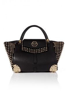 Philipp Plein - 'Studded' Shell Bag Black | Wear this stunning bag which carries all your essentials with all your outfits. The shape and the studded design makes it a fashionable must have.