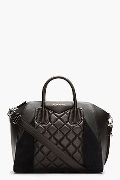 Givenchy Black Quilted Leather & Suede Antigona Duffle Bag for women | SSENSE