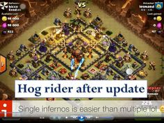 Hog rider attack strategy town hall 10 after update episode 4 - Clash of clans  With the new update (unlurable heroes), someone said that no chances for using Hog Raider. But we still have chances for them.  How to combo:  - Combo 1: 38 hogs,3 witchs, 4 wall breakers, 6 barbs, 3 healings, 1 rage, 1 freeze  - Combo 1: 36 hogs, 2 giants, 2 witchs, 8 wall breakers, 10 barbs, 4 healings, 1 rage  - CC troops: 2 witch, 2 wiz, 3 barbs