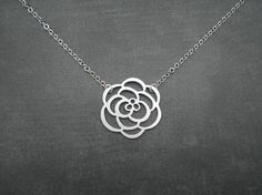 Rose Necklace  Silver Necklace    Flower by ElementOfNature.