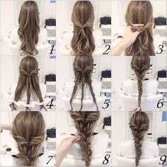 Easy pulled back braid hairstyle for long hair