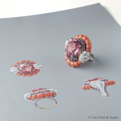 Gouache drawing of Summer Cocktail ring, Pierres de Caractère Variations collection White gold, round diamonds, pink gold, coral (corallium elatius), round mauve sapphires and one oval-cut pink spinel of 21.19 carats. The aesthetic and the choice of stones of the Summer Cocktail ring echo the cocktail rings especially fashionable during the 1960s. The expression came into being in the 1930s to describe the colorful and opulent rings worn by elegant ladies at exclusive receptions.
