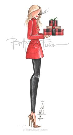 Brittany Fuson | fashion illustration | Christmas | holiday | Christmas cards | cocktail party | unique Christmas cards | Christmas presents | wrapping paper Unique Christmas Cards, Christmas Bags, Christmas Wishes, Christmas Presents, Christmas Holiday, Ballet Fashion, Fashion Art, Sexy Drawings, Dress Sketches