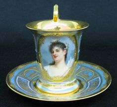 Beehive(Royal Vienna) Portrait Cup w/Saucer
