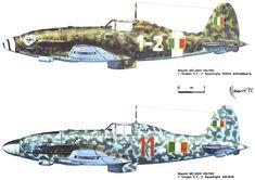 """Macchi Mc 205 Veltro - A.N.R. - Veltro """"1-2"""" del 1° Gruppo C.T. 2a Squadriglia """" Vespa Arrabbiata"""" -  Veltro """"Rosso 11"""" del 1° Gruppo C.T. 3a Squadriglia """"Arciere"""""""