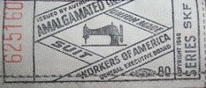 In 1949 the union label tag was redesigned.  This vintage clothing tags of this type illustrate a sewing machine in the center, without scis...