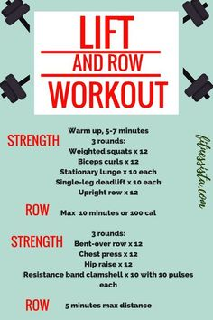 Lift and Row - Strength and Indoor Rower Workout - The Fitnessista - Lift and Row Workout – Build Strength and Get in Your Cardio with this Total Body Workout Fitness Workouts, At Home Workouts, Body Workouts, Workout Routines, Workout Plans, Rowing Machine Workouts, Anytime Fitness Workout, Workouts Hiit, Workout Body