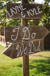 "signs - where to put them though? not sure if i need both ""i do"" and ""we did"" both in same direction unless sign placed somewhere else