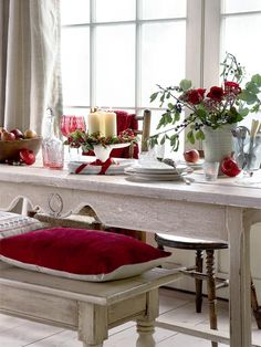 Red and white, country Christmas table