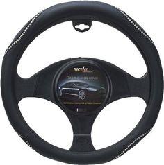 Moda Motorsports Medium Black-Ice Crystal Bling Leatherette Steering Wheel Cover www.CrystalCase.com