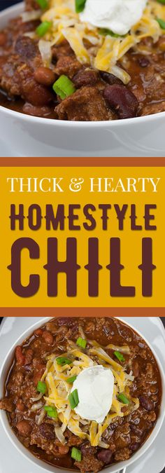 Thick & Hearty Homesyle Chili - Warm up this winter with a big bowl of the BEST thick, rich and hearty chili! Thick & Hearty Homesyle Chili - Warm up this winter with a big bowl of the BEST thick, rich and hearty chili! Chilli Recipes, Crockpot Recipes, Soup Recipes, Cooking Recipes, Healthy Recipes, Chili Soup, Chili Chili, Chili With Stew Meat, Chipotle Chili