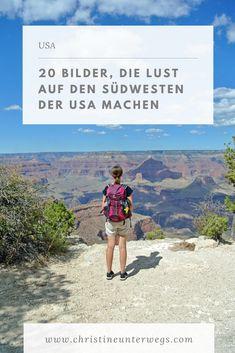 Der Südwesten der USA ist vielfältig: Über feine Sandstrände, grüne Klippen, rote Wüsten und dichte Wälder. Auf der Reise durch den Südwesten der USA habe ich so viele unterschiedliche Landschaften gesehen, dass ich sie gar nicht aufzählen kann. Für mich hat es bereits Tradition, meine 20 Lieblingsbilder einer Reise zu sammeln. Südwesten Usa, Reisen In Die Usa, Strand, Travel Tips, Messages, Adventure, World, Nature, Movie Posters