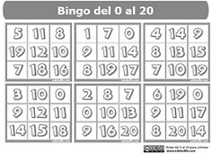 Bingo numérico Eduludik. Números: 0 al 20. Para imprimir y colorear.