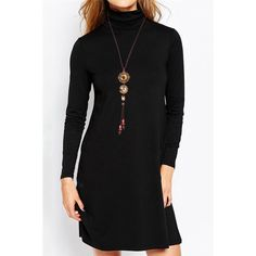 $11.74 Stylish Turtle Neck Long Sleeve Solid Color Women's Flare Dress