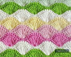 With an interesting effect, this crochet stitch in different colors looks -to me- like cute, little rows of Japanese fans. Long Loop Shell Stitch by MyPicot seems so much fun and it looks like the stitch you may want to try next. This stitch is perfect to use to create pretty handmade things to decorate …