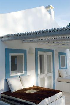 White. Blue. Sun, Shade, Roof.
