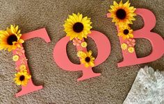Wooden greek letters sunflowers U of SC Gamma Phi Beta