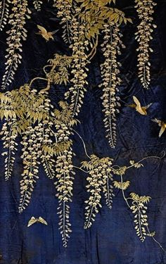 ~ It's a Colorful Life ~ Detail ~ Japanese Embroidered Silk Panel Japanese Textiles, Japanese Prints, Japanese Art, Japanese Patterns, Japanese Design, Motifs Textiles, Motif Art Deco, Design Textile, Art Japonais