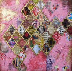 Jill Ricci. Comfort i- cut stencil out of cardboard, cut out shapes from magazine pages