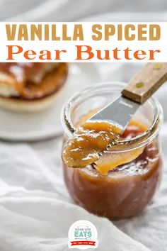 Vanilla Spiced Pear Butter makes an excellent homemade gift during the holidays. I've included instructions on how to can pear butter too so you can enjoy it for months to come! I had a craving recently for this Vanilla Spiced Pear Butter. It is so good warm on a buttery toasted English muffin for breakfast. | Good Life Eats @goodlifeeats #pearbutter #christmasgifts #homemadepearbutter #canning #preserving #pearrecipes #fallrecipes #goodlifeeats Pear Recipes, Fruit Recipes, Fall Recipes, Recipes For Pears, Relish Recipes, Delicious Recipes, Holiday Recipes, Snack Recipes, Dessert Recipes