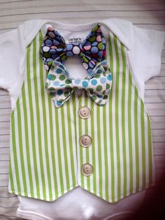 Comfortable Baby Boy Dressy Vest Outfit w/ Removable Bow Tie (Short sleeves)