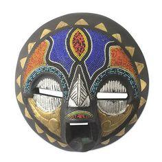 African wood mask, 'Sadaki' by NOVICA
