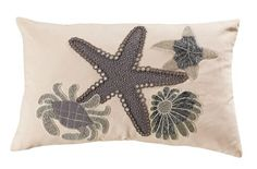 Add this lovely ivory and grey large Coastal Shell Treasures Pillow to your room to give it an extra seaside luxury touch with beaded crab, starfish and shell images. Coral Pillows, Brown Pillows, White Pillows, Neutral Colors, Vibrant Colors, White Pillow Covers, Decorative Throw Pillows, Coastal Farmhouse, Farmhouse Decor