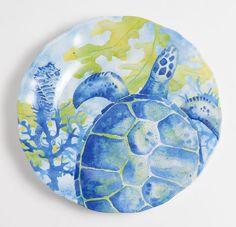 "Yacht and Home 9"" Sea Turtle Melamine Non-Skid Salad/Dessert Plate"