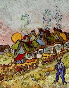 Vincent van Gogh - Farmhouses at sunset