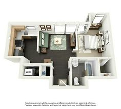 Studio Apartment Floor Plans 500 sq ft studio apartment | initial schematic design of three