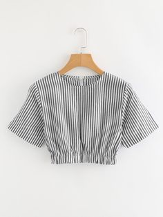2019 Trendy Contrast Striped Crop Blouse For Women Girls Fashion Clothes, Teen Fashion Outfits, Look Fashion, Korean Fashion, Girl Fashion, Fashion Dresses, Crop Top Outfits, Cute Casual Outfits, Chic Outfits