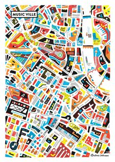 Topographic Patterns in Vibrant Maps by Atelier Antoine Corbineau Map Design, Graphic Design, Map Quilt, Architecture Drawings, Architecture Posters, Fantasy Map, Painting Collage, Music Images, City Maps
