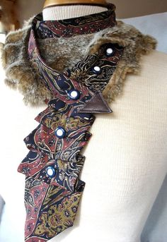 Textile Necklace from Upcycled Necktie And Faux by Rumpelsilkskin