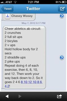 ab circuit. don't have to be a cheeleader to get the abs lol.    I'm a competitive cheerleader and have been since I was 2 so perfect