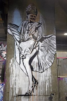 """Cheeky stencil art by Norwegian street artist Dolk Lundgren. Seen at Leake Street, London during the Cans Festival. Not to be confused as a Banksy.   Made by streetartist """"Dolk"""" - #streetart #aryz - Click for more streetart"""