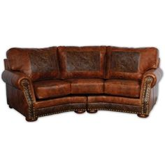 Perfect The Cameron Ranch Curved Leather Sofa Is Beautifully Accented With An  Embossed Tooled Leather Pattern And Antique Brass Nails. With A Slight  Western Flair ...