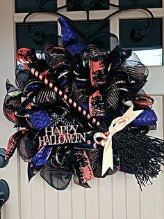Halloween Wreath Happy Halloween Wreath Deco Mesh by BlondeMoxie, $95.00